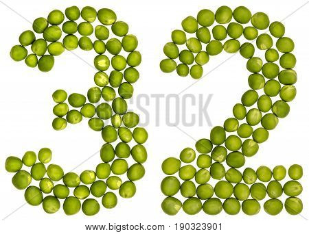 Arabic Numeral 32, Thirty Two, From Green Peas, Isolated On White Background