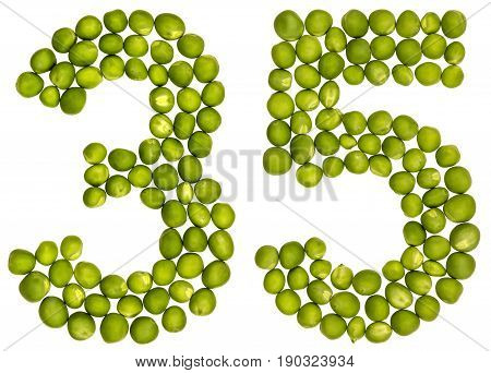Arabic Numeral 35, Thirty Five, From Green Peas, Isolated On White Background