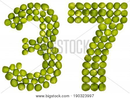 Arabic Numeral 37, Thirty Seven, From Green Peas, Isolated On White Background
