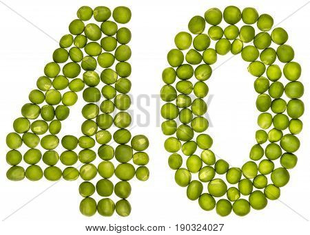 Arabic Numeral 40, Forty, From Green Peas, Isolated On White Background