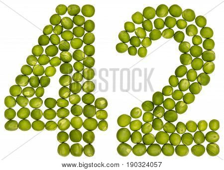 Arabic Numeral 42, Forty Two, From Green Peas, Isolated On White Background