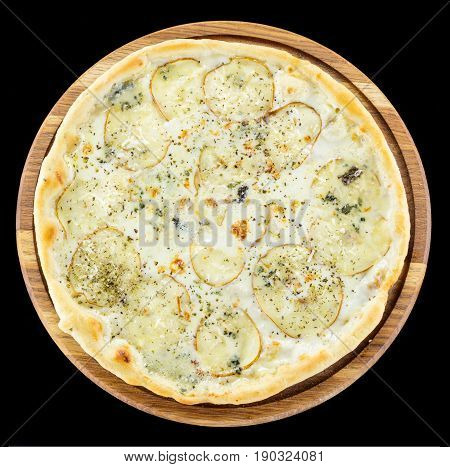 Pizza with pears gorgonzola cheese and mozzarella cheese over black background view from above