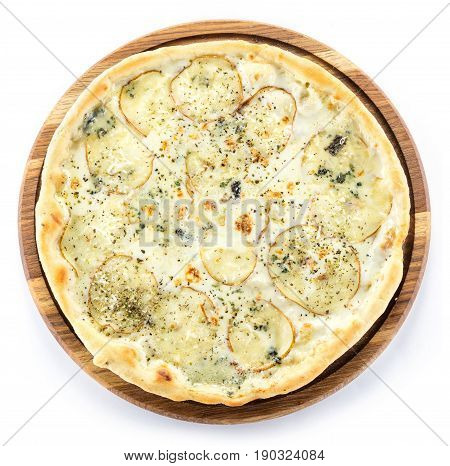 Pizza with pears gorgonzola cheese and mozzarella cheese over white view from above