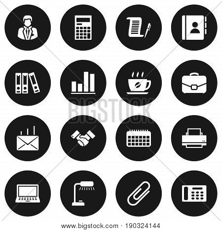 Set Of 16 Bureau Icons Set.Collection Of Address Book, Laptop, Diplomat And Other Elements.