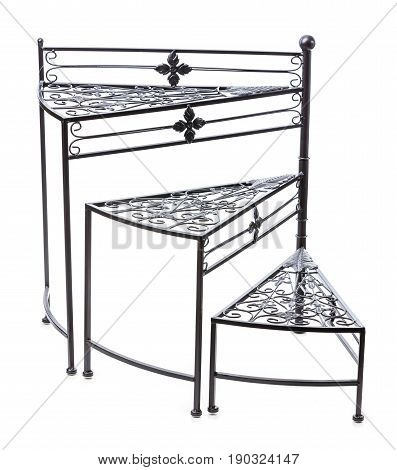 Staircase design plant stand or display shelf unit over white background