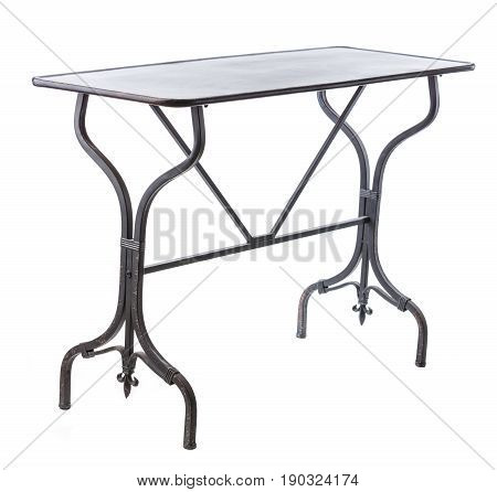 Elegant table with metal legs over white background