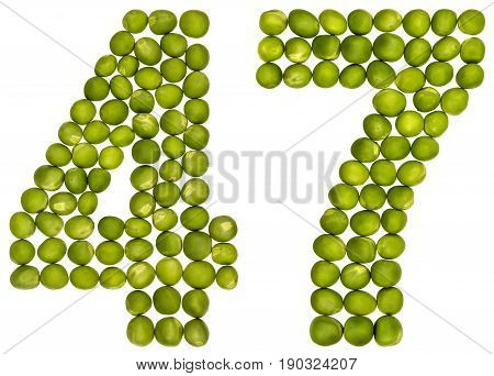 Arabic Numeral 47, Forty Seven, From Green Peas, Isolated On White Background