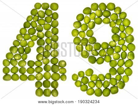 Arabic Numeral 49, Forty Nine, From Green Peas, Isolated On White Background