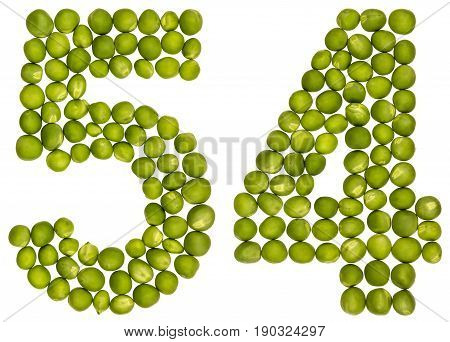 Arabic Numeral 54, Fifty Four, From Green Peas, Isolated On White Background