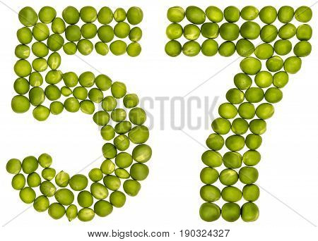 Arabic Numeral 57, Fifty Seven, From Green Peas, Isolated On White Background