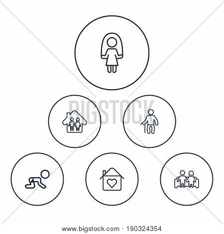 Set Of 6 People Outline Icons Set.Collection Of Crawling Kid, Home, Couple And Other Elements.