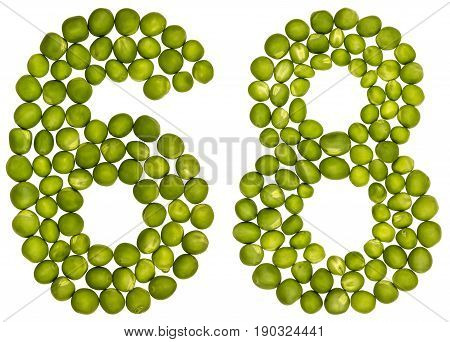 Arabic Numeral 68, Sixty Eight, From Green Peas, Isolated On White Background