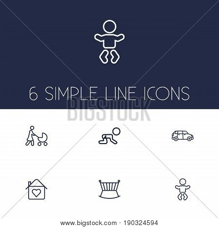 Set Of 6 Family Outline Icons Set.Collection Of Crib, Baby, Crawling Kid And Other Elements.
