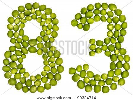 Arabic Numeral 83, Eighty Three, From Green Peas, Isolated On White Background
