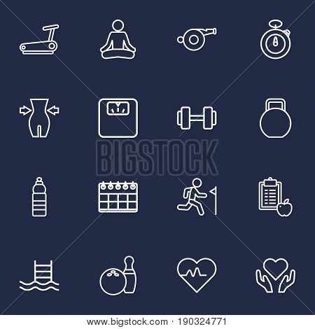 Set Of 16 Fitness Outline Icons Set.Collection Of Diet, Stopwatch, Training And Other Elements.