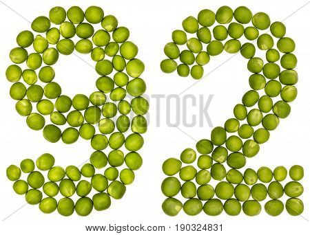 Arabic Numeral 92, Ninety Two, From Green Peas, Isolated On White Background