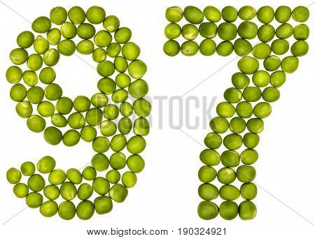 Arabic Numeral 97, Ninety Seven, From Green Peas, Isolated On White Background
