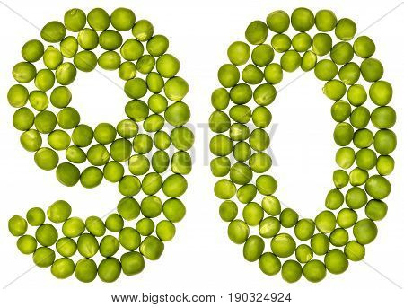 Arabic Numeral 90, Ninety, From Green Peas, Isolated On White Background