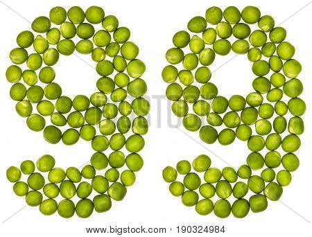 Arabic Numeral 99, Ninety Nine, From Green Peas, Isolated On White Background