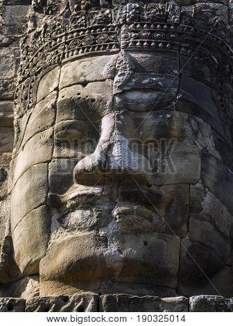 Buddha head tower in Bayon Temple Cambodia.