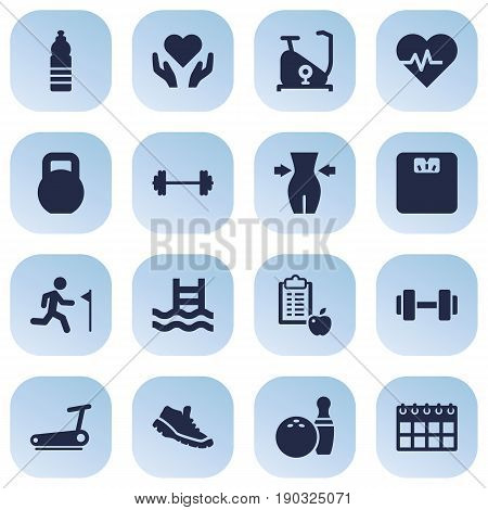 Set Of 16 Bodybuilding Icons Set.Collection Of Basin, Kegling, Drink And Other Elements.