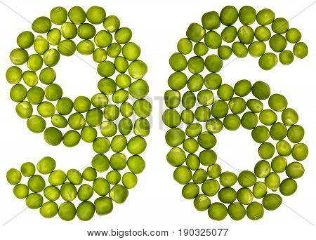 Arabic Numeral 96, Ninety Six, From Green Peas, Isolated On White Background