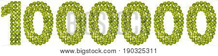 Arabic Numeral 1000000, One Million,from Green Peas, Isolated On White Background