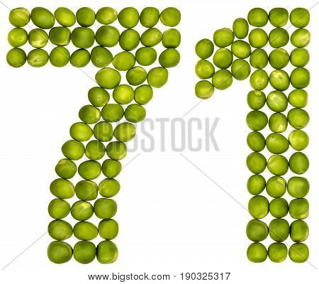 Arabic Numeral 71, Seventy One, From Green Peas, Isolated On White Background