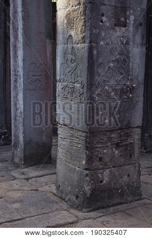 Pillar carving details in Bayon Temple Cambodia.