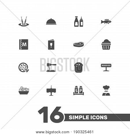Set Of 16 Cafe Icons Set.Collection Of Book, Dinner Desk, Canape And Other Elements.
