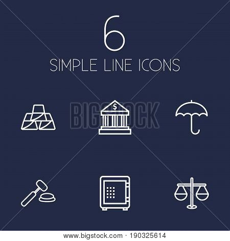 Set Of 6 Budget Outline Icons Set.Collection Of Golden Bars, Auction, Justice And Other Elements.