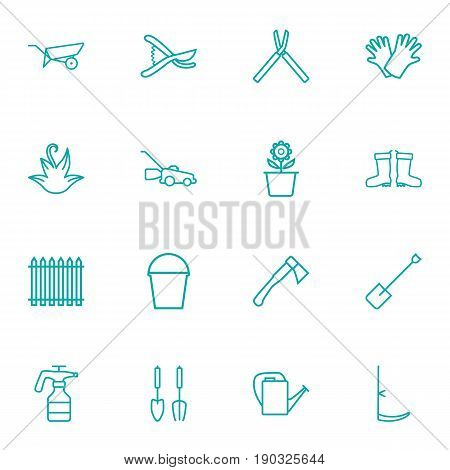 Set Of 16 Farm Outline Icons Set.Collection Of Atomizer, Safer Of Hand , Secateurs Elements.