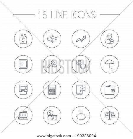 Set Of 16 Finance Outline Icons Set.Collection Of Electron Payment, Businessman, Atm And Other Elements.