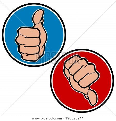 A vector illustration of a couple of Thumbs Up and Down Icons.