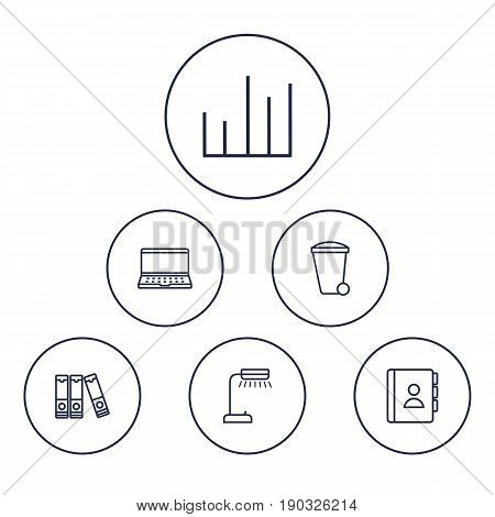 Set Of 6 Work Outline Icons Set.Collection Of Document Case, Telephone Directory, Reading-Lamp And Other Elements.