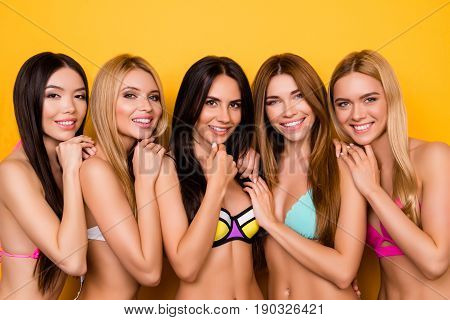 Multicultural Colorful Beauty, Group Of Five Young Playful Coquettes In Swim Suits, All So Hot And D