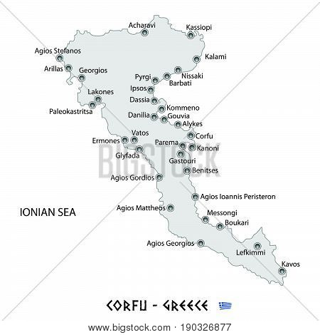 Island Of Corfu In Greece White Map Illustration