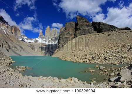 The three towers at Torres del Paine National Park, Patagonia, Chile, view from Mirador de Las Torres