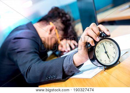 busy and headache person in office and deadline