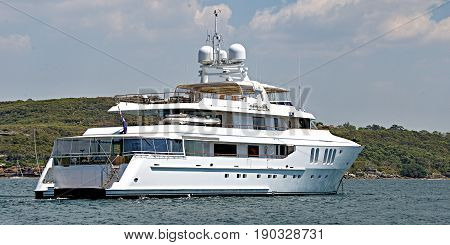 A fully equipted Australian 45 meter 90 ton plus luxury cruising motor super yacht anchored in Sydney's North Harbour. 2013