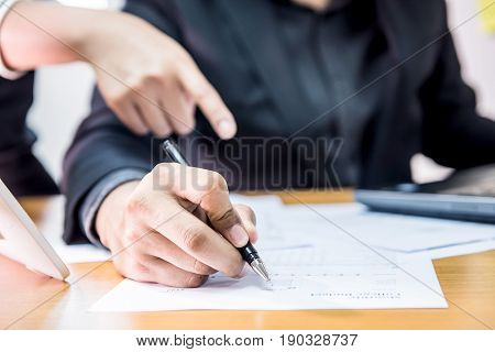 businessman with colleague teamwork for goal and success concept