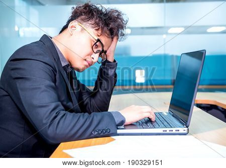 busy and headache person and unsuccessful businessman