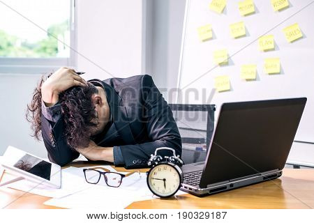 busy and headache person unsuccessful businessman and deadline