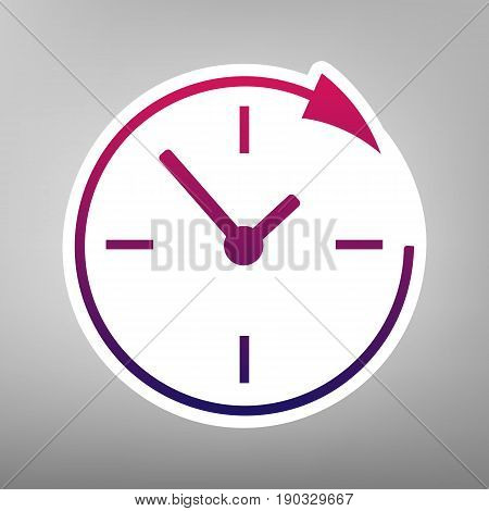 Service and support for customers around the clock and 24 hours. Vector. Purple gradient icon on white paper at gray background.
