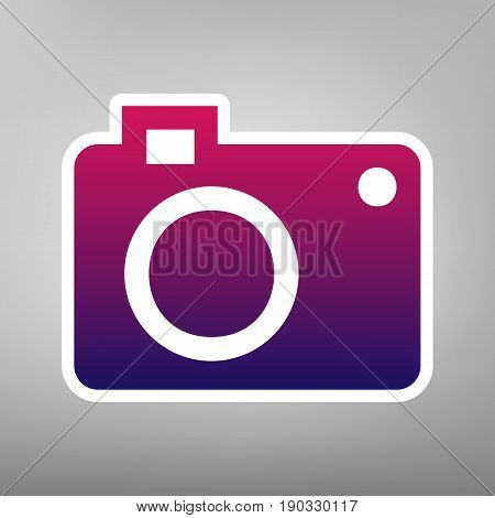 Digital camera sign. Vector. Purple gradient icon on white paper at gray background.