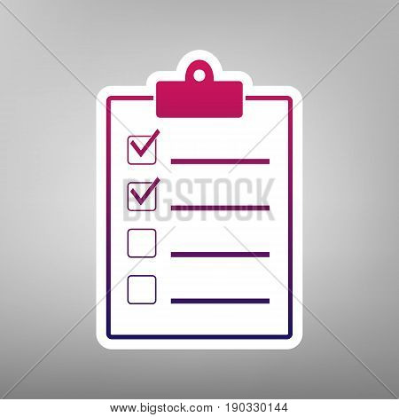 Checklist sign illustration. Vector. Purple gradient icon on white paper at gray background.