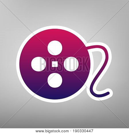 Film circular sign. Vector. Purple gradient icon on white paper at gray background.