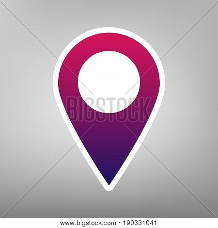 Mark pointer sign. Vector. Purple gradient icon on white paper at gray background.