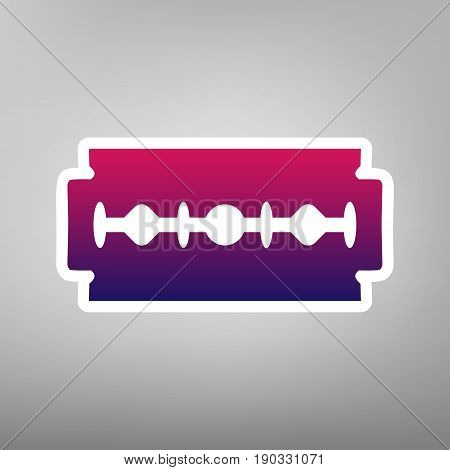 Razor blade sign. Vector. Purple gradient icon on white paper at gray background.