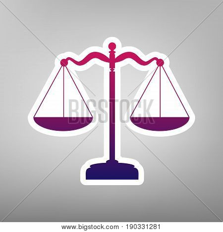 Scales balance sign. Vector. Purple gradient icon on white paper at gray background.